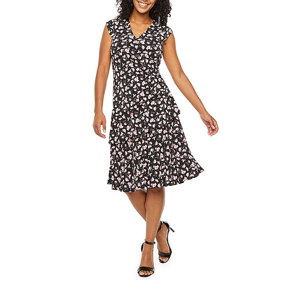 Robbie Bee Cap Sleeve Floral Fit & Flare Dress-Petite