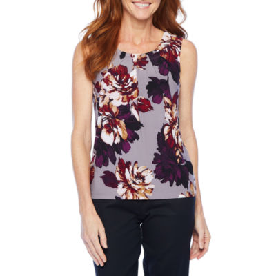 Black Label by Evan-Picone Womens Round Neck Sleeveless Blouse