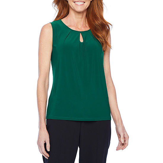 Black Label by Evan-Picone Womens Keyhole Neck Sleeveless Blouse