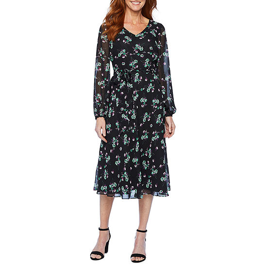 Black Label by Evan-Picone Long Sleeve Floral A-Line Dress
