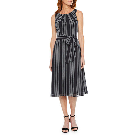 Black Label by Evan-Picone Sleeveless Striped Midi Fit & Flare Dress