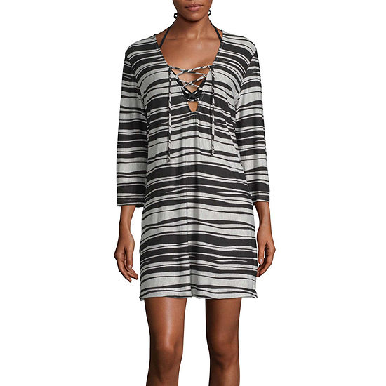 Porto Cruz Striped Dress Swimsuit Cover-Up