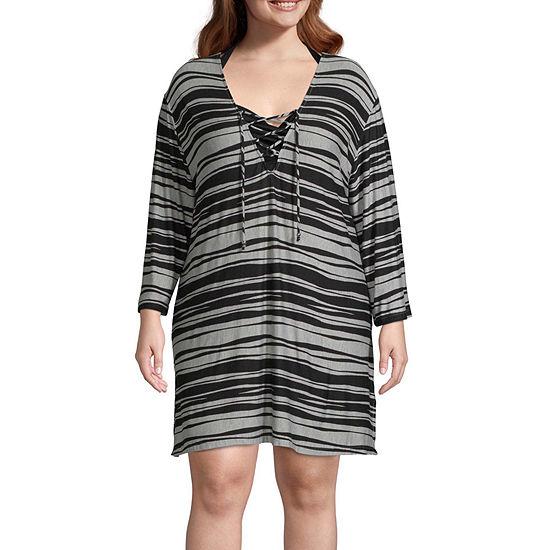 Porto Cruz Striped Dress Swimsuit Cover-Up Plus