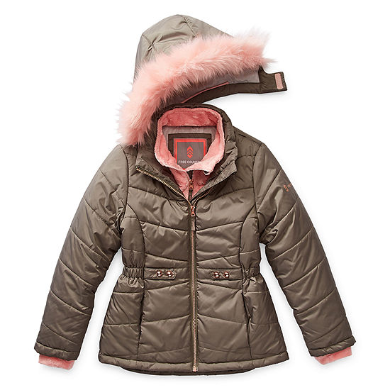 Free Country Little & Big Girls Hooded Faux Fur Trim Heavyweight Puffer Jacket