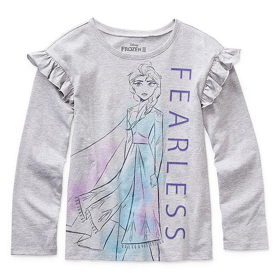 Disney Frozen 2 Capsule Girls Crew Neck Long Sleeve Frozen Graphic T-Shirt - Preschool / Big Kid