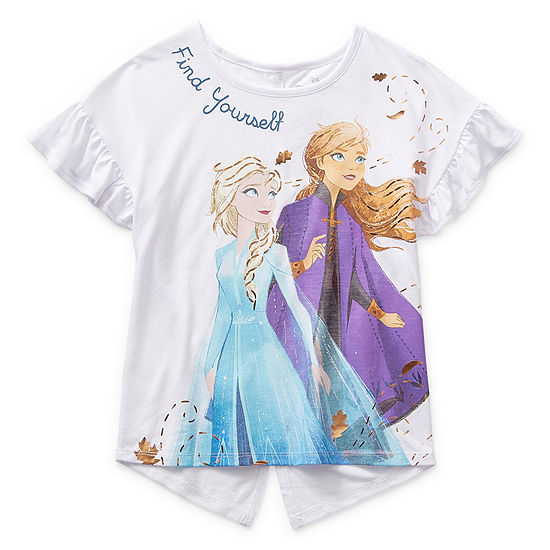 Disney 2 Little & Big Girls Crew Neck Frozen Short Sleeve Graphic T-Shirt