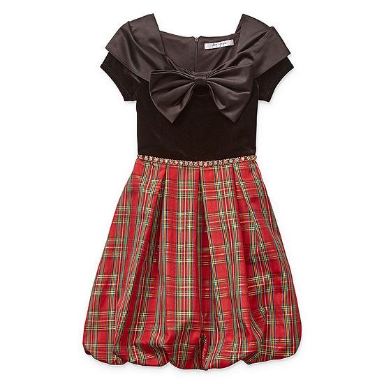 Knit Works Girls Embellished Short Sleeve Cap Sleeve Skater Dress - Big Kid
