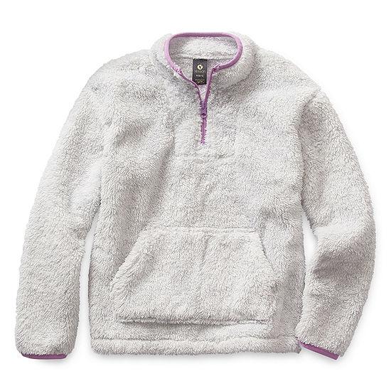 Xersion Minky Fleece Little & Big Girls Long Sleeve Quarter-Zip Pullover