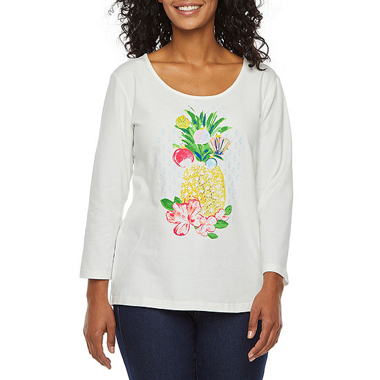 Hearts Of Palm Holiday Tees-Womens Scoop Neck 3/4 Sleeve T-Shirt