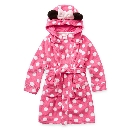 Disney Collection Little & Big Girls Knit Minnie Mouse Long Sleeve Mid Length Robe