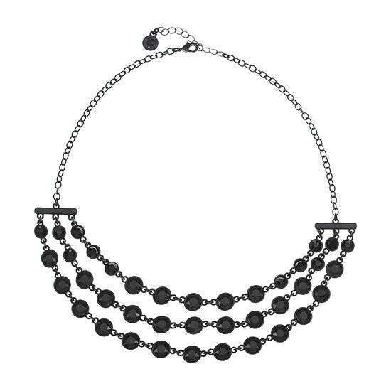 Liz Claiborne Black 17 Inch Cable Round Collar Necklace