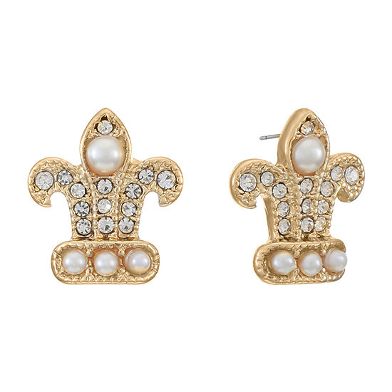 Monet Jewelry 14mm Fleur De Lis Stud Earrings