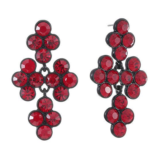 Liz Claiborne Red Round Chandelier Earrings