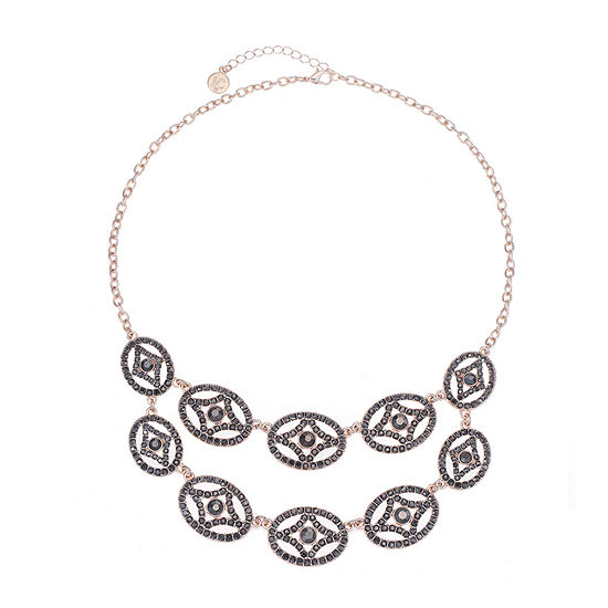Liz Claiborne Gray 18 Inch Cable Oval Statement Necklace