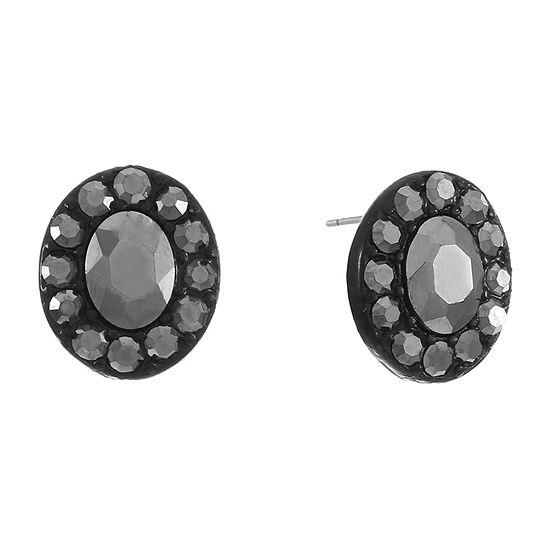 Liz Claiborne Gray 16.5mm Oval Stud Earrings