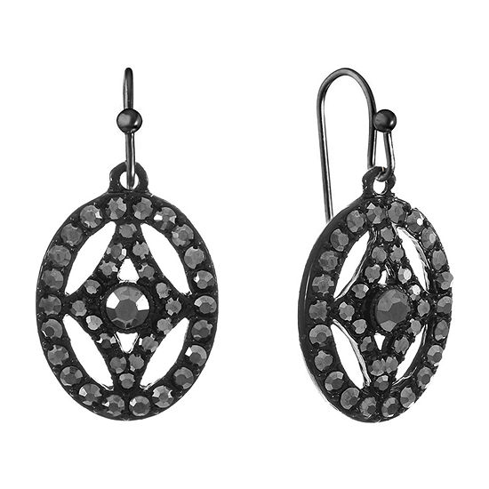 Liz Claiborne Gray Oval Drop Earrings