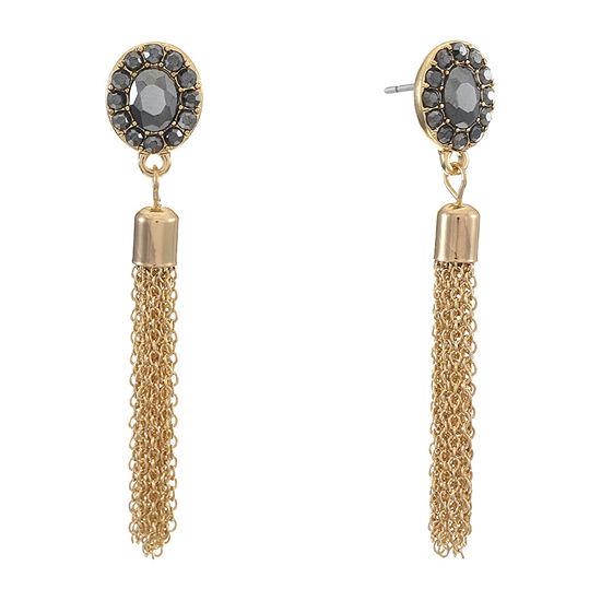 Liz Claiborne Gray Oval Chandelier Earrings