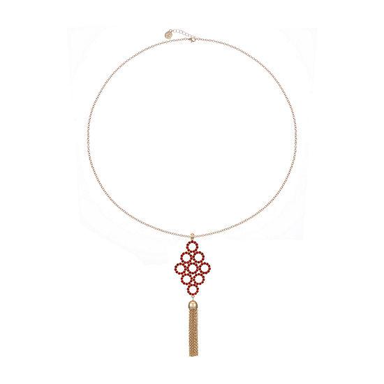 Liz Claiborne Red 32 Inch Cable Round Pendant Necklace