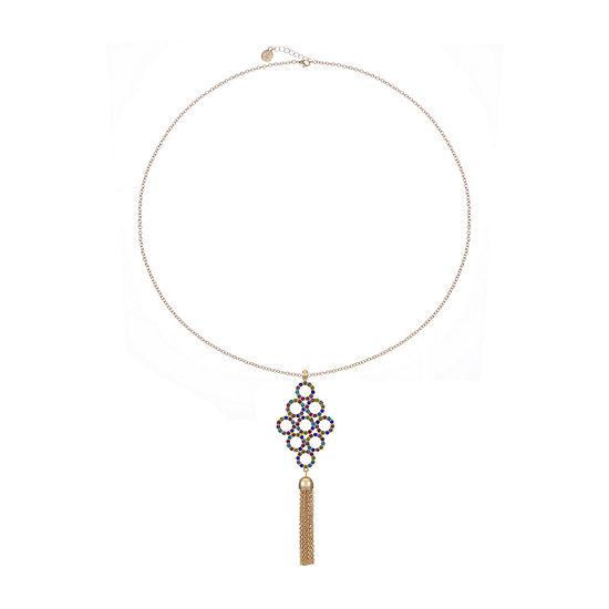 Liz Claiborne Multi Color 32 Inch Cable Round Pendant Necklace