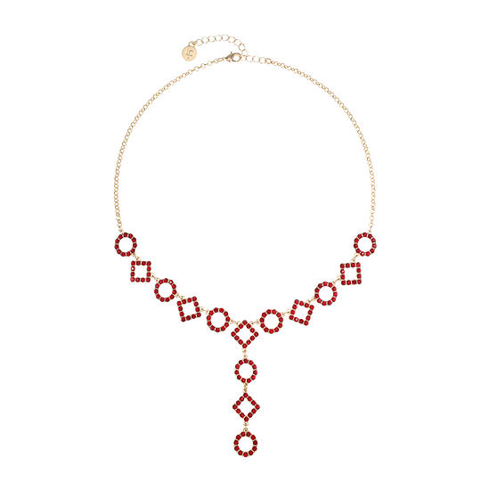 Liz Claiborne Red 18 Inch Cable Round Y Necklace