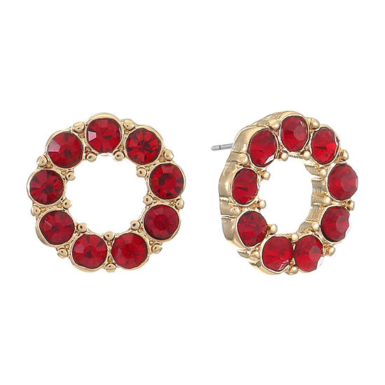 Liz Claiborne Red 12mm Round Stud Earrings