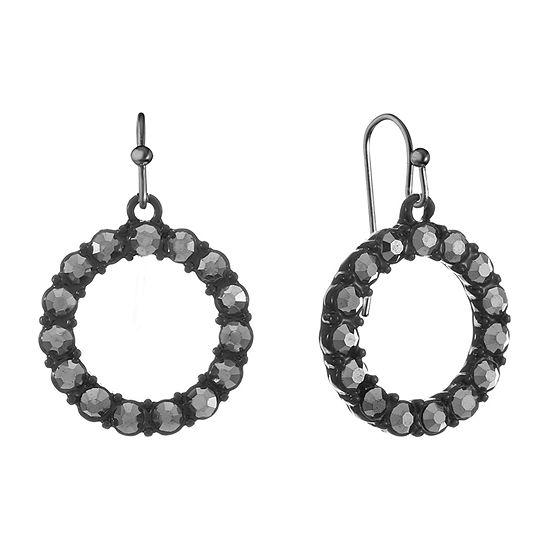 Liz Claiborne Gray Round Drop Earrings