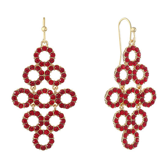 Liz Claiborne Red Round Drop Earrings