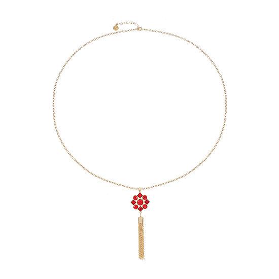 Liz Claiborne Red 34 Inch Cable Pendant Necklace