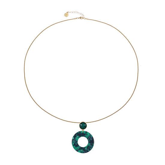 Liz Claiborne Resin Green 32 Inch Snake Pendant Necklace
