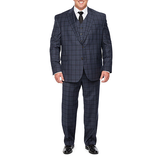 Stafford Super Suit Blue Brown Plaid Big and Tall Suit Separates