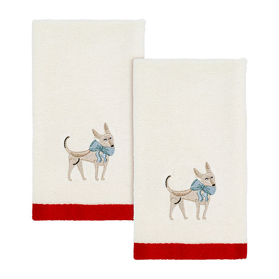 Avanti Holiday Dogs 2-pc. Embellished Fingertip Towel