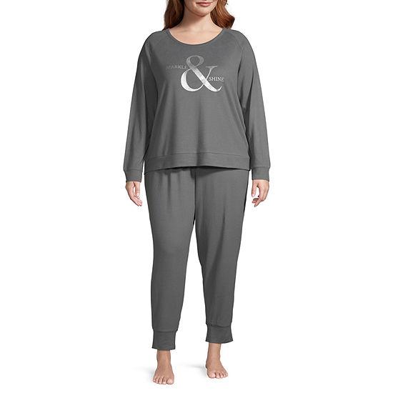 Ambrielle Womens Long Sleeve Pant Pajama Set 2-pc.-Plus