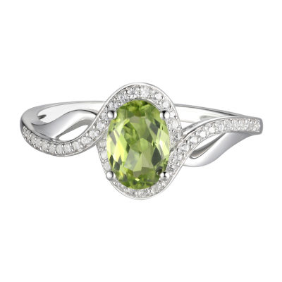 Womens Genuine Green Peridot 10K White Gold Cocktail Ring