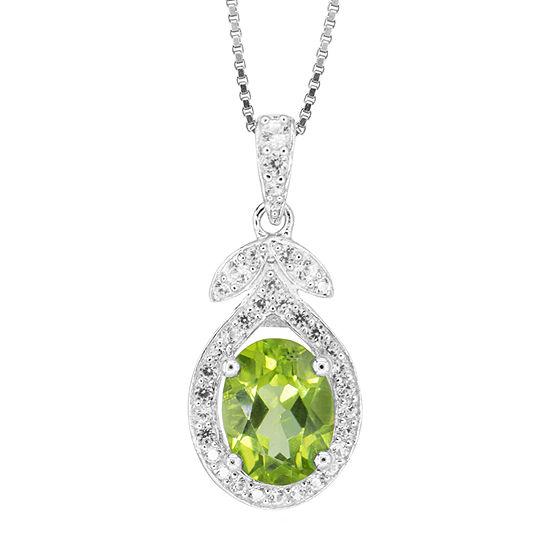 Womens Genuine Green Peridot Sterling Silver Pendant