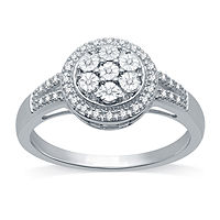 JCPenney deals on 1/10 CT. T.W. Genuine Diamond Cluster Cocktail Ring in Silver