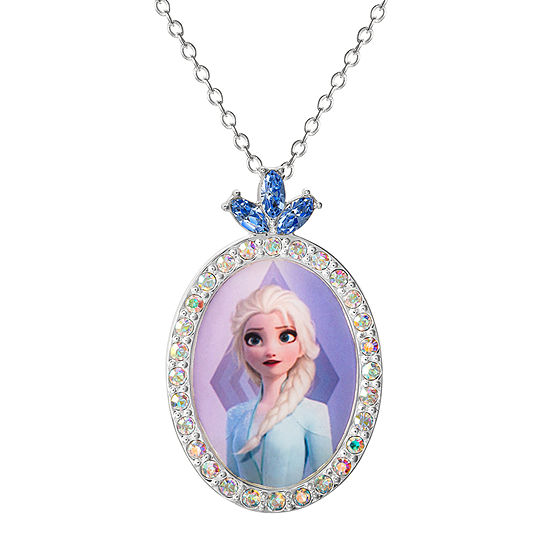 "Disney Girls Sterling Silver Frozen 2 Elsa Oval Crystal Pendant Necklace with 15"" Chain"