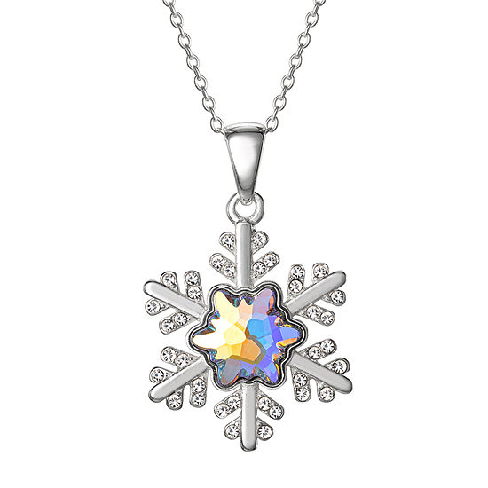 "Disney Girls Sterling Silver Frozen 2 Crystal Snowflake Pendant Necklace with 15"" Chain"
