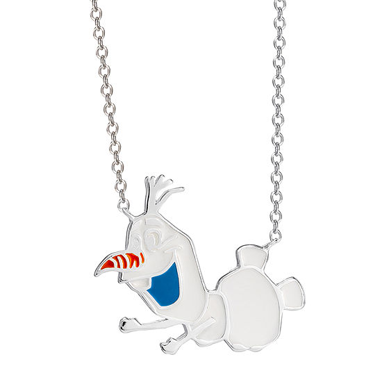 "Disney Girls Sterling Silver Frozen 2 Enamel Olaf Necklace with 15"" Chain"