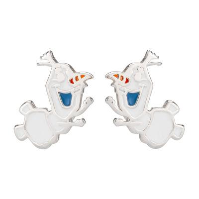 Disney Girls Sterling Silver Frozen 2 Enamel Olaf Stud Earrings