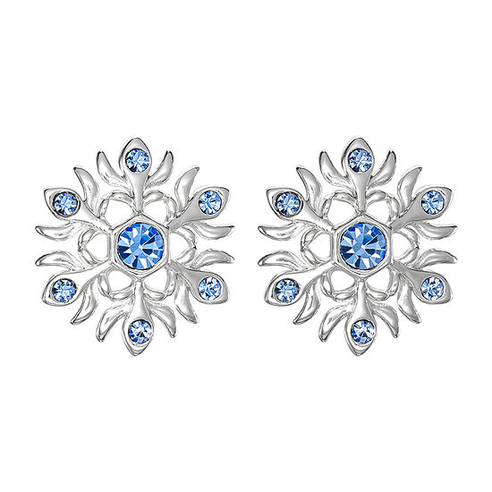 Disney Girls Sterling Silver Frozen Blue Crystal Snowflake Stud Earrings