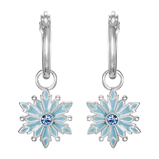 Disney Girls Sterling Silver Frozen 2 Enamel Snowflake Hoop Earrings