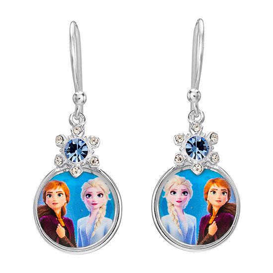 Disney Girls Sterling Silver Frozen 2 Elsa & Anna Round Drop Earrings