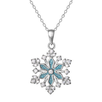 Diamonart Womens 1/3 CT. T.W. White Cubic Zirconia Sterling Silver Snowflake Pendant Necklace