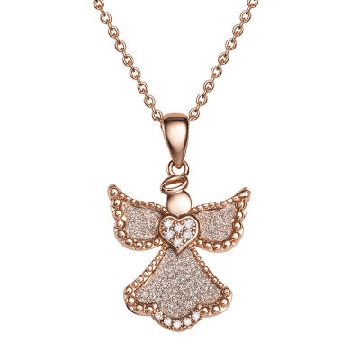 Diamonart Womens White Cubic Zirconia 14K Rose Gold Over Silver Angel Pendant Necklace