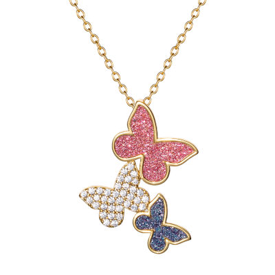 Diamonart Womens 1/6 CT. T.W. White Cubic Zirconia 14K Rose Gold Over Silver Butterfly Pendant Necklace
