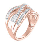 Womens 1/2 CT. T.W. Lab Grown Diamond 14K Rose Gold Over Silver Cocktail Ring