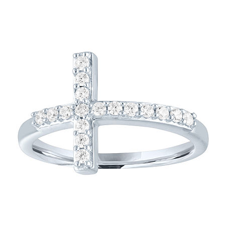 Womens 1/4 CT. T.W. Lab Grown Diamond Sterling Silver Cross Cocktail Ring, 6 , No Color Family