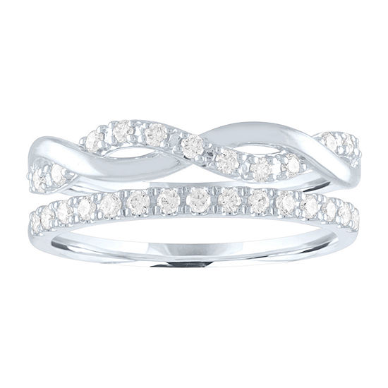 Womens 1/4 CT. T.W. Lab Grown Diamond Sterling Silver Stackable Ring