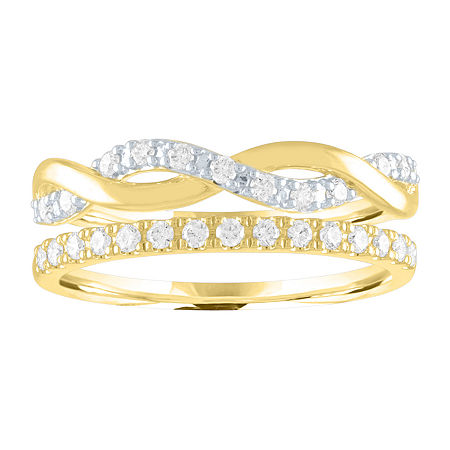 Womens 1/4 CT. T.W. Lab Grown Diamond 14K Gold Over Silver Stackable Ring, 7 , No Color Family