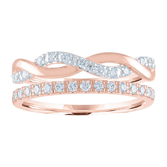Womens 1/4 CT. T.W. Lab Grown Diamond 14K Rose Gold Over Silver Stackable Ring